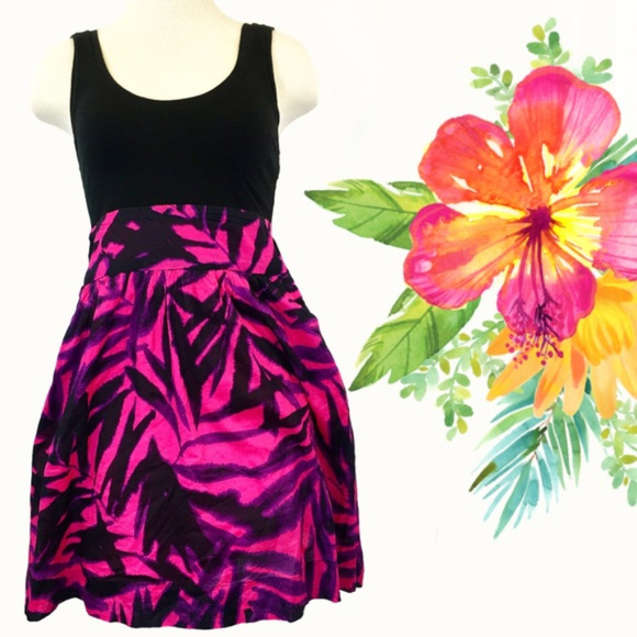 2cdddb6e962 Express Dresses   Skirts - Express Black   Neon Tropical Print Tank Dress